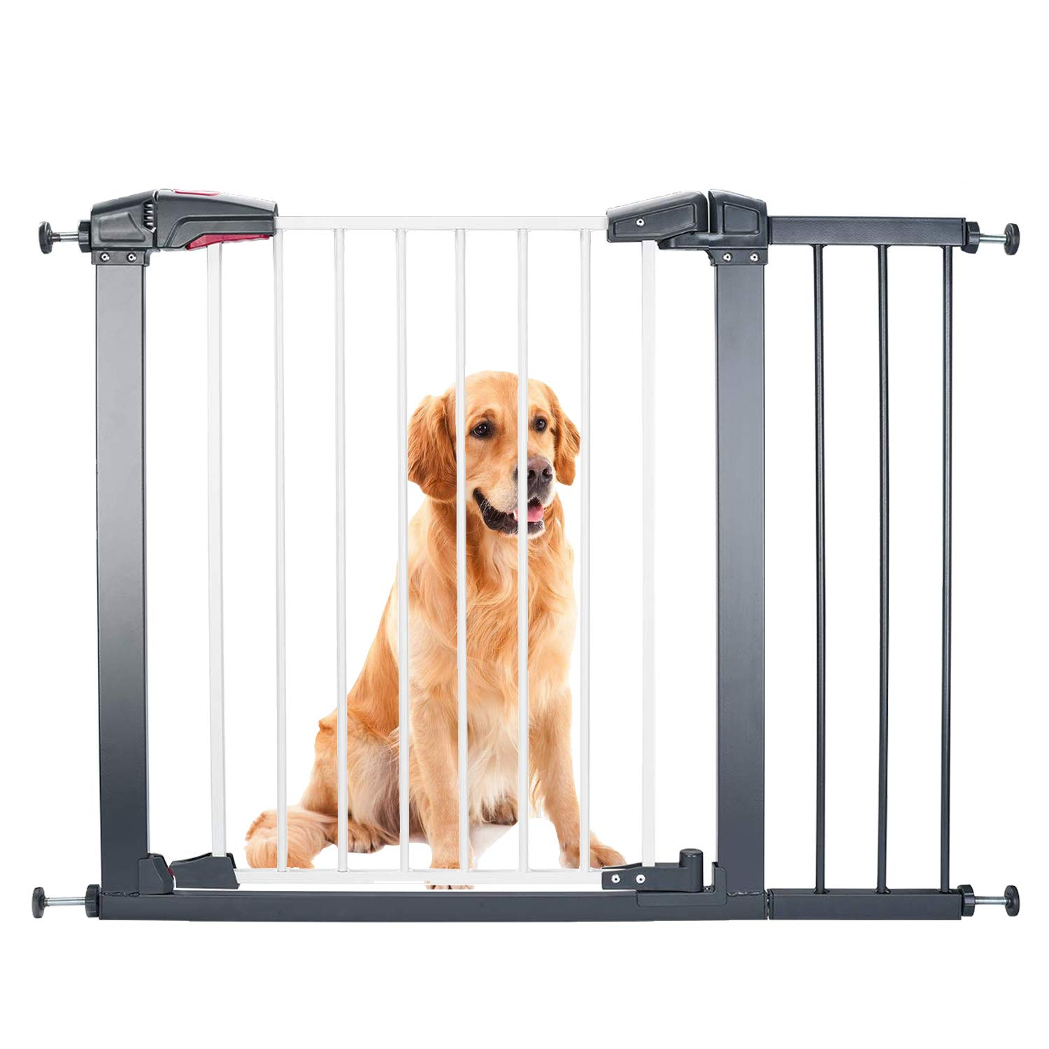 Luuoz Baby Gate Pet Gate Swings Both Ways, 40.6-Inch Baby Gate for doorways, Extra Wide Walk Thru Gate Pressure Mount, Includes 8-Inch Extension Kit, Silver Grey