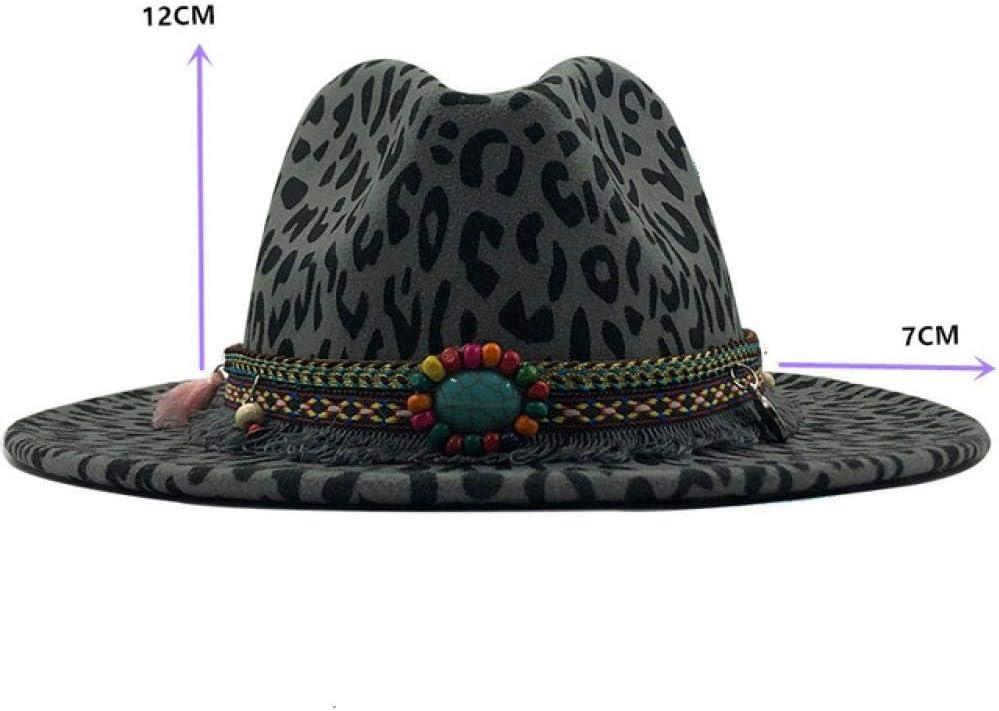 HWJDGWQ Fedora Unisexe Plat Brim Feutre De Laine Jazz Fedora Chapeaux Hommes Femmes Leopard Grain Gland Bande D/écor Chapeaux Formels