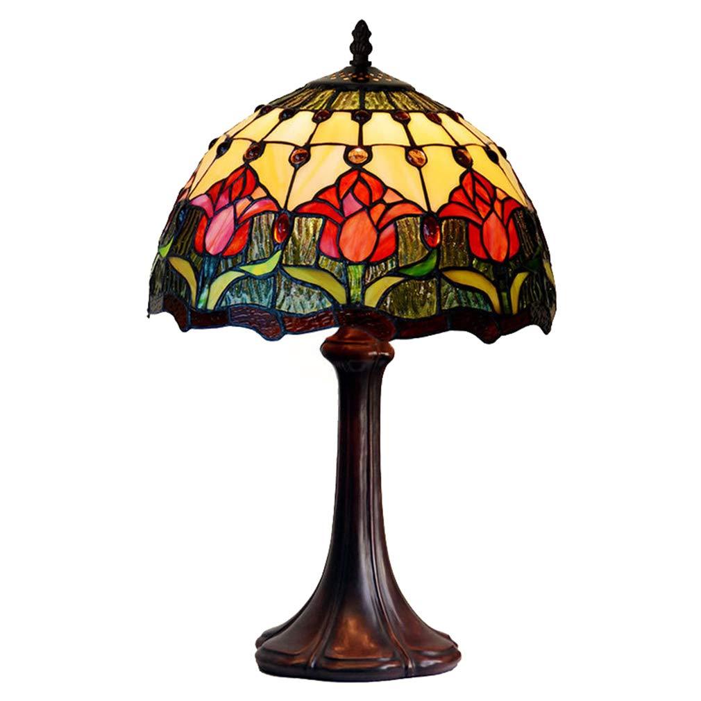 Unbekannt 12 Zoll Rote Tulpe Tischlampe Tiffany Stil Europäischen Schlafzimmer Nachttischlampe Studie kinderzimmer Tischlampe 110 v-220 v E27x1 Hotel Club Hochzeit Zimmer Lampe (Ohne Glühbirne)