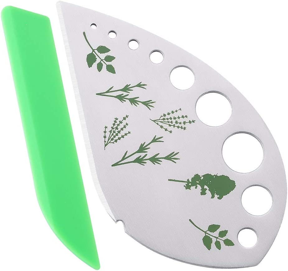 2 in 1 Design Stainless Steel Kitchen Herb Leaf Stripping Tool 9 Holes Metal Herb Chopper for Kale Collard Greens Rosemary Chard Herb Stripper Parsley Silver Green Thyme Taragon Basil
