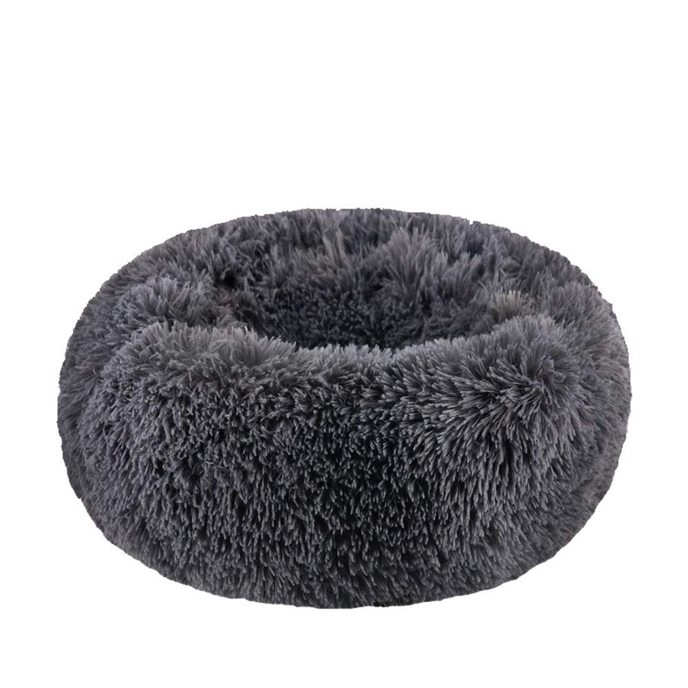 WonderKathy Modern Soft Plush Round Pet Bed for Cats or Small Dogs, Mini Medium Sized Dog Cat Bed Self Warming Autumn Winter Indoor Snooze Sleeping Cozy Kitty Teddy Kennel (S(19.7''Dx7.9''H), Dark Grey)