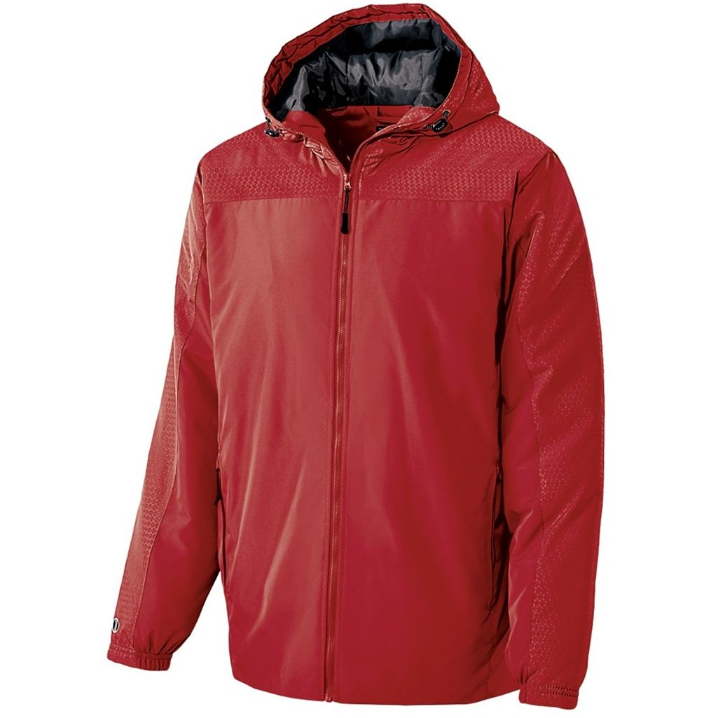 Holloway Youth Bionic Hooded Jacket (Large, Scarlet/Carbon)