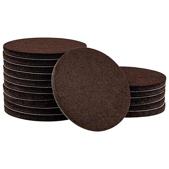 SoftTouch 4723895N 3 Inch, Brown, 16 Pack Heavy Duty Felt Furniture Pads-Protect Hardwood and Linoleum Floors frim Scratches, 16 Piece