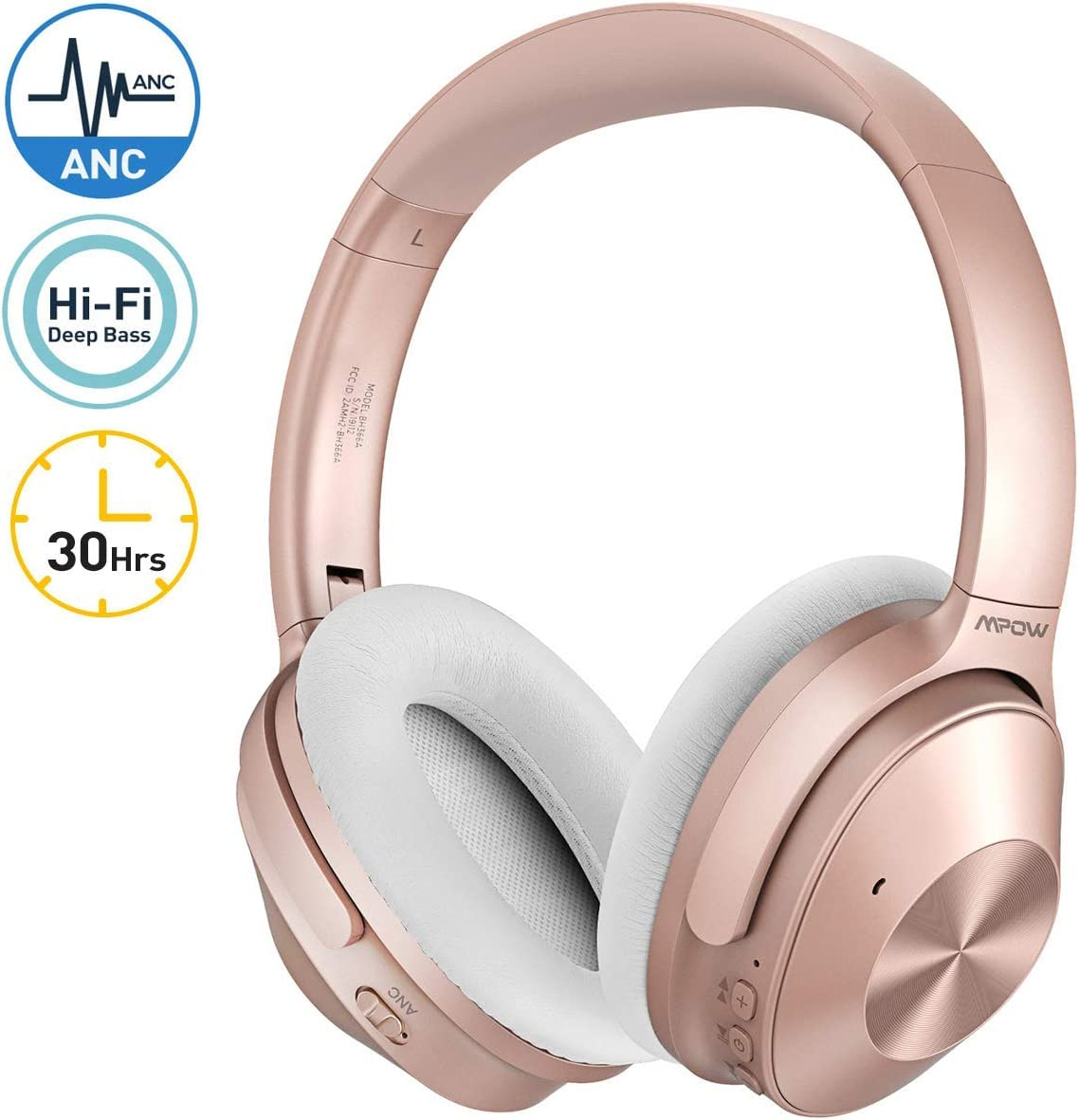 Mpow H12 Auriculares con Cancelación de Ruido, Auriculares Bluetooth Diadema 5.0 con Micrófono CVC 6.0, 30 Hrs de Reproducir, Cascos con Cancelación de Ruido para Videollamada/Skype/PC/TV/Móvil-Rosa