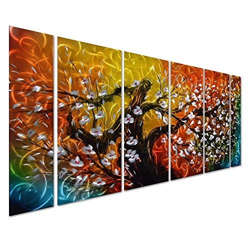 3d Metal Art (Pure Art Gigantic Tree of Life Metal Wall Art Decor, Colorful 3D Artwork for Modern, Contemporary and Traditional Decor, 6-Panels Measures 24