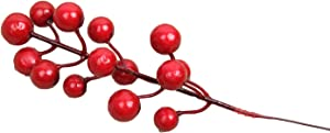 ( Pack of 12 ) Artificial Red Berry Picks Branch for DIY Home Christmas Tree Wreath Parties Decor
