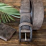 Pegai Personalized Distressed Leather Belt for Men, Rustic Minimalist Leather Belt, Monogrammed Unique Belt - Boone Chestnut