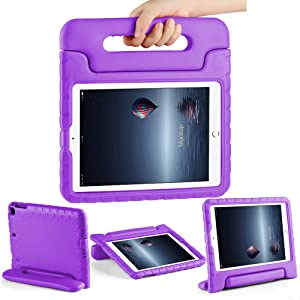 CAM-ULATA Case for iPad Air 1 Air 2 for Kids Toddlers for New iPad 2018/2017 9.7 inch Cover Shockproof Kids Proof for iPad 5th 6th Generation Purple