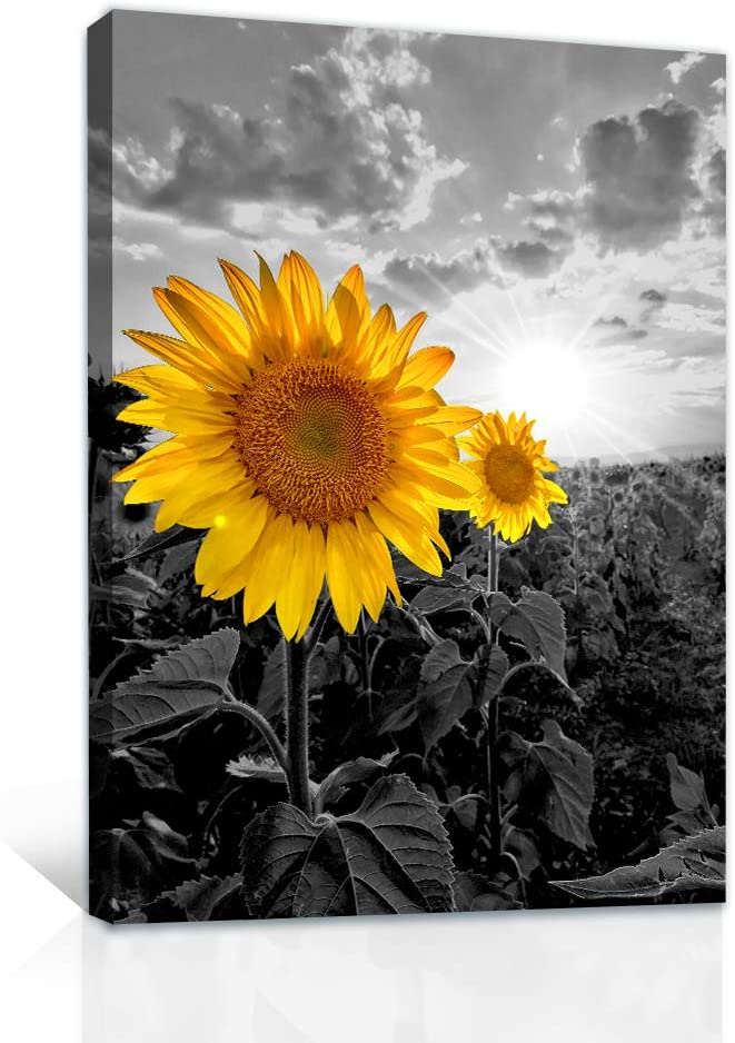 Canvas Wall Art for bedroom Wall Decor for dining room bathroom Canvas Prints Artwork yellow sunflower flower Pictures plants painting 16