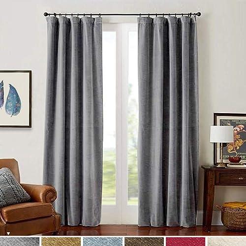 Grey Velvet Curtains Living Room 84 inches Long Rod Pocket Room Darkening Window Treatment Set Bedroom Room Darkening Drapes 2 Panels