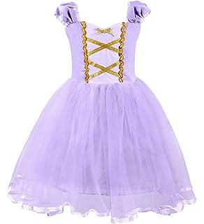 6a949c44a AmzBarley Rapunzel Dress Princess Girls Costume Short Sleeve Kids ...