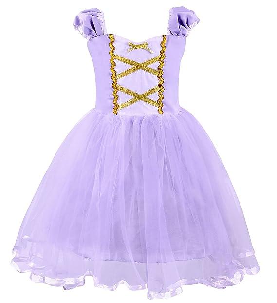 AmzBarley Princesa de Las Muchachas Rapunzel Vestirse Costume Cosplay Vestidos de Fiesta para Niños Pequeños 1