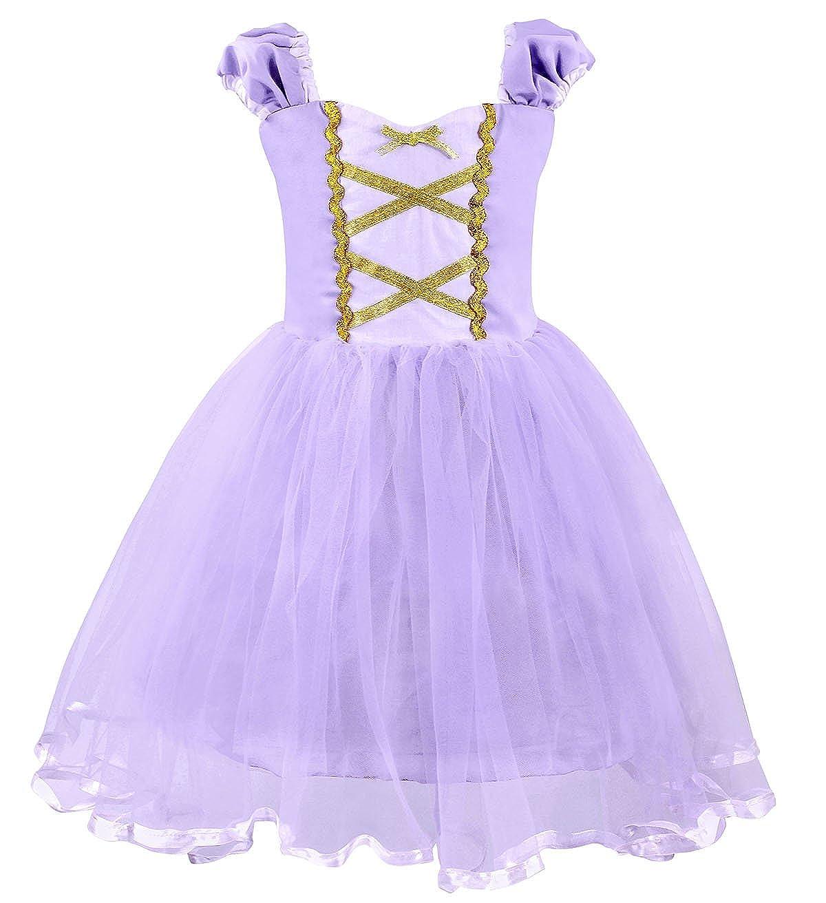3ac6d290cfe0 AmzBarley Ragazze principessa Rapunzel Vestire Costume Cosplay abiti da  festa per bambini piccoli