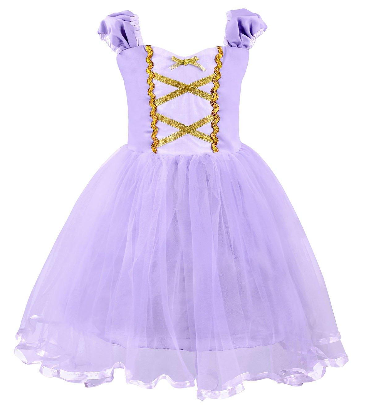 Cotrio Girls Princess Rapunzel Dress up Costume Halloween Cosplay Fancy Party Dresses Size 4T (110, Rapunzel Tutu Dress) by Cotrio (Image #1)