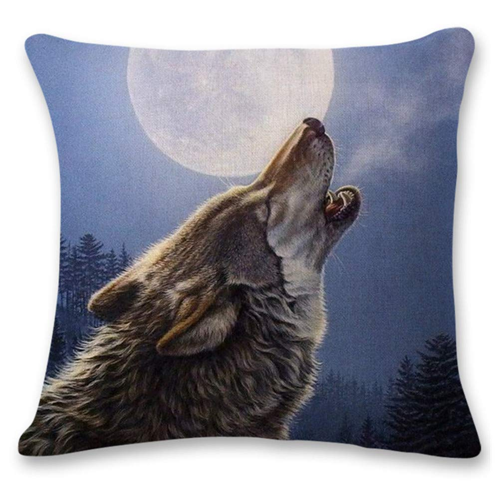 Pgojuni Cute Wolf Tower Flax Pillowcase Decoration Throw Pillow Cover Cushion Cover Pillow Case for Sofa/Couch 1pc (A) by Pgojuni_Pillowcases (Image #1)