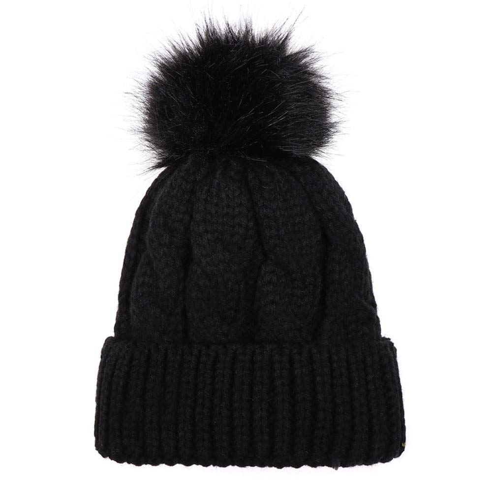 Jarsh Kids Winter Knitted Faux Fur Pom Pom Cap Infant Toddler Kids Solid Knitted Beanie Hat 0-5 Years