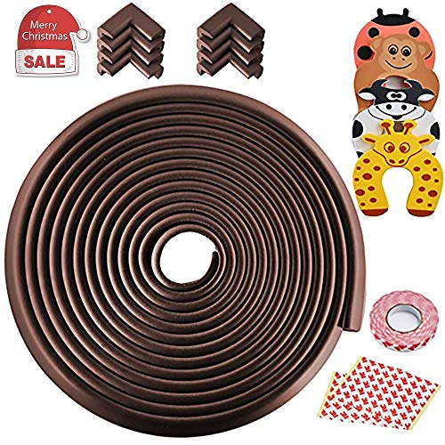 - Besego Edge & Corner Guards Set, 24.36Ft [23Ft Edge + 8 Corner] Safety Furniture Bumper with 4Pcs Foam Door Stopper for Table, Stair, Cabinet, Countertop(Brown)