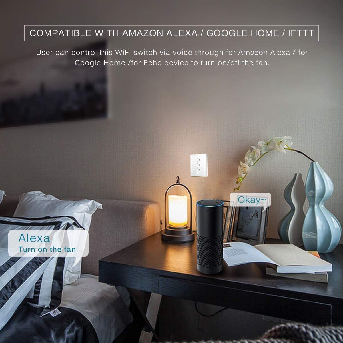 Acheter US WiFi Smart Ventilateur De Plafond Commutateur APP Minuterie À Distance Et Contrôle De La Vitesse Compatible Avec Alexa Et Google Home De