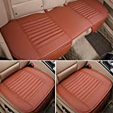 3Pcs Car Seat Cover Universal Non Slip Cushion Pad Mat for Auto Interior/Office Chair with PU Leather Bamboo Charcoal (Brown)