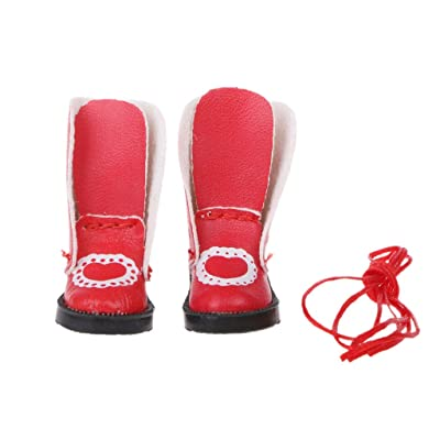 Fmingdou Handmade Exquisite Heart PU Leather Doll Boots for Blythe Doll Shoes 1/6 Doll (red): Toys & Games