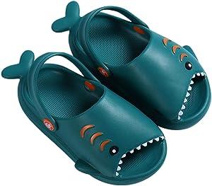 Kid's Garden Clogs Boys Girls Lightweight Open Toe Beach Pool Slides Sandals Little Baby Cute Cartoon Shark Shower Slipper Toddler Non-Slip Summer Slippers Water Shoes