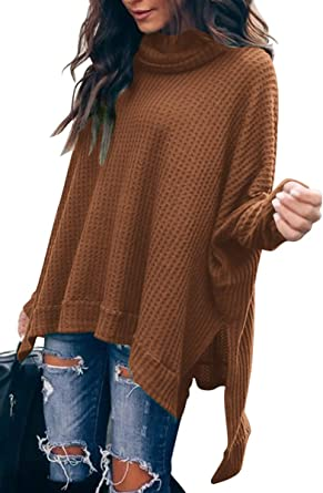 Caracilia Women Turtle Cowl Neck Long Batwing Sleeve Waffle Knit ...