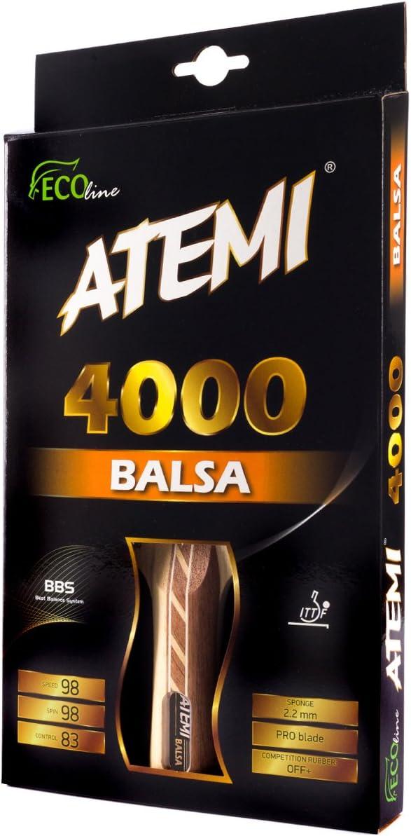 Atemi Pala de Ping Pong 4000 (Madera de Balsa) Raqueta de Tenis de Mesa Pro Ataque Off+ | Control Velocidad Rotación Mejorados | Principiante y Profesional | Caucho de Competención, Madera de 5 Capas