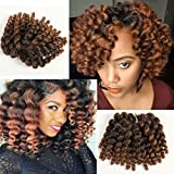#7: 3 Packs 2X Ringlet Wand Curl JAMAICAN BOUNCE 8 inch Synthetic Hair Crochet Braids African Collection 22 roots #T30