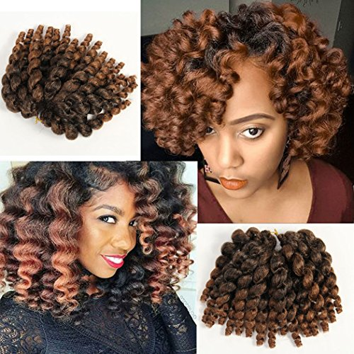 3 Packs 2X Ringlet Wand Curl JAMAICAN BOUNCE 8 inch Synthetic Hair Crochet Braids African Collection 22 roots #T30 - Hair Ringlets