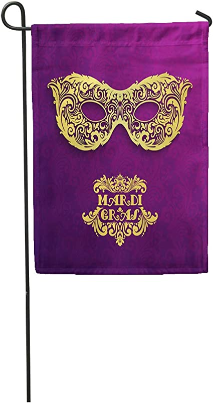 Amazon Com Semtomn Garden Flag Purple Masquerade Pattern Ornate Golden Mardi Gras Colorful Gold Home Yard House Decor Barnner Outdoor Stand 12x18 Inches Flag Garden Outdoor