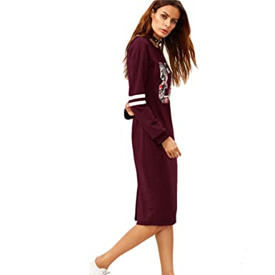 d5beab4b65b Image Unavailable. Image not available for. Color  GiHay Women Print Slit Back  Zipper Round Neck Long Sleeve Shift Dress
