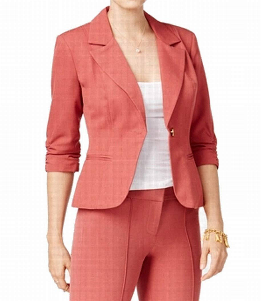 XOXO Women's One-Button Ruched Sleeve Notched Blazer Red XS