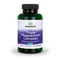 Swanson Triple Magnesium Complex Absorption Support Bone and Mood Health Citrate Oxide and Aspartate Combination Supplement 400 mg 100 Capsules