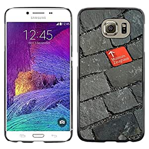MobileHut / Samsung Galaxy S6 SM-G920 / Cobblestone Red Grey Design Museum / Delgado Negro Plástico caso cubierta Shell Armor Funda Case Cover