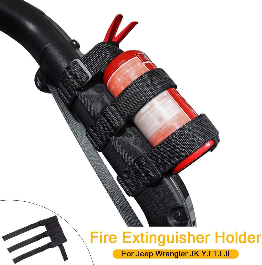 Seguridad Soporte del Extintor de la Barra Antivuelco para Wrangler JK YJ TJ JL (Negro)