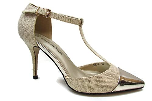 Tacón Oro 37 Colourcherie Mujer Amazon Zapato De Fiesta Zapatos es waXwqEU