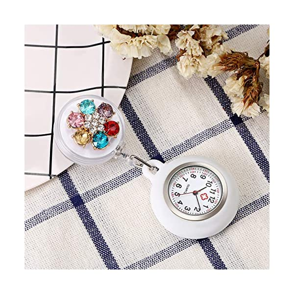 Women's Lapel Watch for Nurses Doctors Paramedic Clip-on Hanging Nurse Watches Fashion Pearls White Silicone Cover Badge Stethoscope Retractable Fob Watch