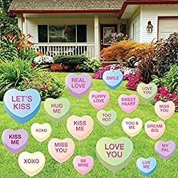 Valentine's Day Candy Heart - Yard Decoration with 20 candy hearts
