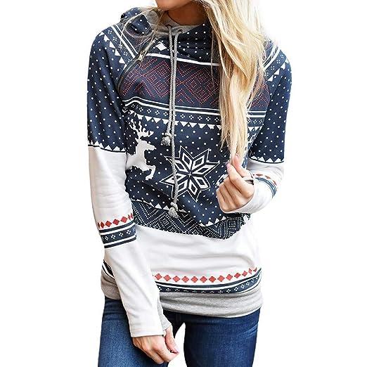 20aa5f4e8e56e Longra Femmes Noël Imprimé Tops Encapuchonné Sweat-Shirt Mode Fermeture  éclair Pullover Chemisier T-