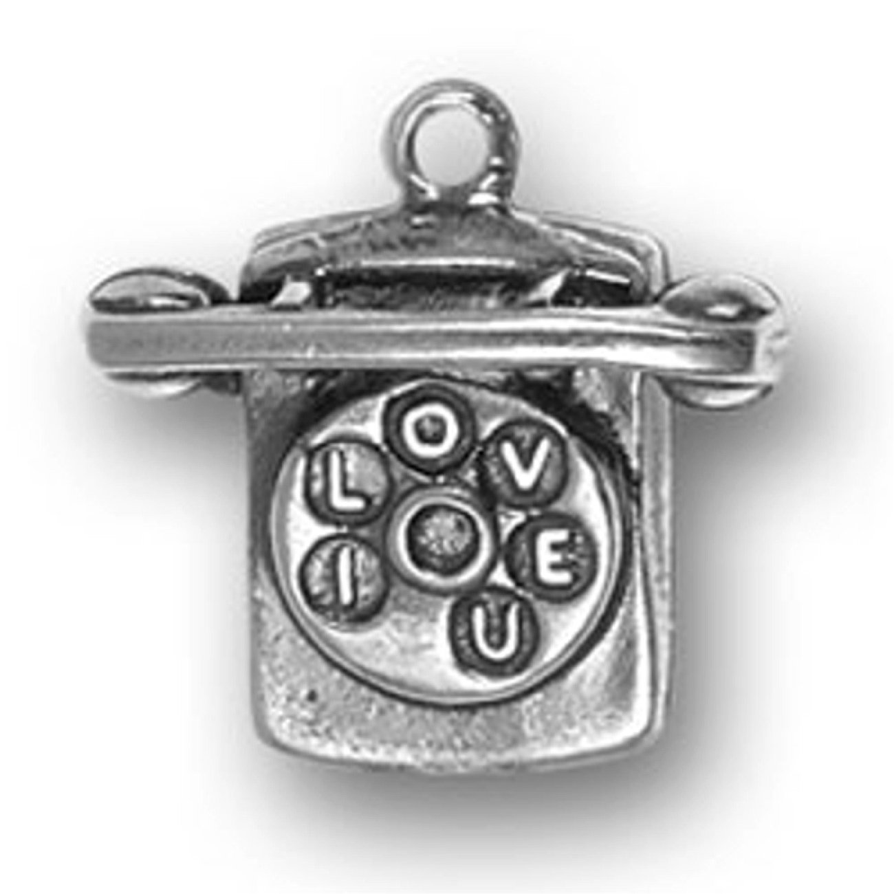 Sterling Silver 3D 80s Retro Style Desk I LOVE YOU Phone Dangle Charm Bead For Bead Charm Bracelet