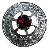 AAR Scottish Ladies Shawl Fly plaid Brooch Red Stone Kilt 2'' (5cm) Chrome Finish