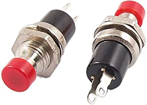 URBEST 1A 250V AC 2 Pin SPST Off-(On) Round Momentary Push Button Switch, 10 Pieces