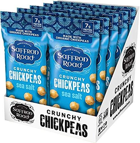 Saffron Road Organic Crunchy Chickpea Snacks-Gluten Free, Non-GMO, Kosher, Vegan (Sea Salt, 1.25 oz (10 Pack))