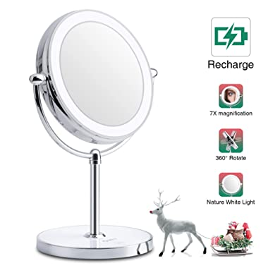 World Backyard Lighted Makeup Mirror, Double-Sided LED Vanity Mirror with Lights, Magnification with Built-in Li-on Battery for Beauty Cosmetic Applying, Rechargeable & Wireless.