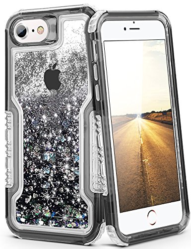 """iPhone 8 Case, iPhone 7 Case for Women Glitter Protective Cover Cute Clear Shell Shockproof Heavy Duty Bumper Flowing Liquid Saprkle Quicksand Case for Apple iPhone 8 Case/iPhone 7 Case 4.7""""-Black"""