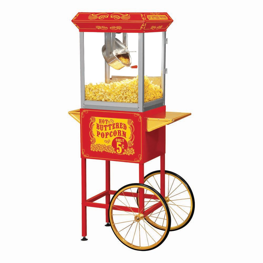 Funtime FT860CR Antique Carnival-Style 8-Ounce Hot-Oil Popcorn Popper with Cart, Red