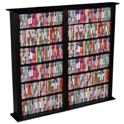 (American Furnishings Media Storage Tower - 50 inch Regular Double, Black)