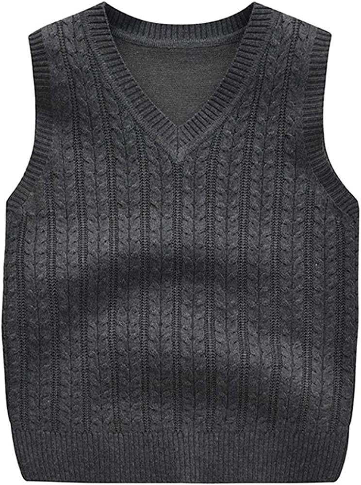 Achiyi Baby Kids Boys Girls Sweater Vest Solid Knitted Twist Sleeveless Pullover Cute Children/'s Waistcoat