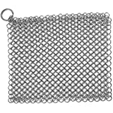 Stainless Steel Cast Iron Cleaner, Chainmail Scrubber, Skillet Grill Scraper with Hanging Ring Anti-Rust Made for Cast Iron Pans, Pre-Seasoned Pan, Waffle Iron, Dutch Oven Pans, 7inch x 7 inch Square