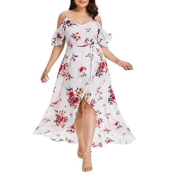 Challeng Ropa de Mujer Ocio Manga Corta Estilo Bohemio Imprimir Vestido Largo Estampado de Flores Correa